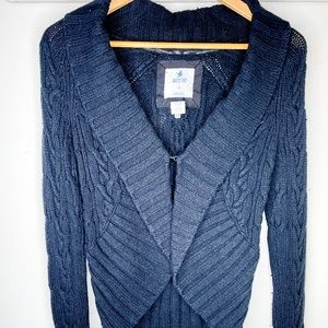 Aerie Woven Knit Black Cardigan w/ Front Closure